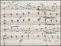 Manuscript for Beethoven's Ninth symphony