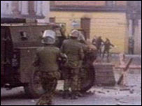 Soldiers in Derry on Bloody Sunday