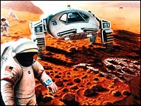 Futurisic vision of man on Mars, Nasa