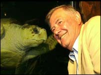 Bernard Le Tourneur and Jersey the turtle