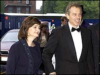 Prime Minister Tony Blair with wife Cherie