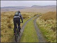 Mountain biker at Nant yr Arian