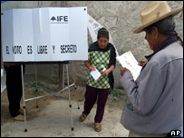 Mexican voters at polling booth