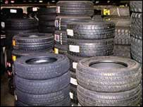 Tyres in a garage