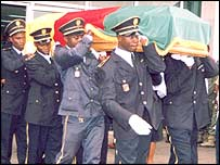 Marc-Vivien Foe's body is taken to be buried