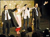 French actors Renaud Castel, Blanche Veisberg, Sophie Vonlanthen and Yann Reuzeau in Four Dogs On A Bone