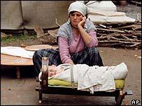 Kosovo Albanian refugee during war