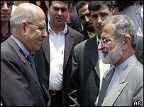 IAEA director general Mohamed ElBaradei (left) greets Iranian Foreign Minister Kamal Kharrazi