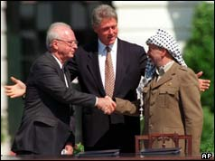 Rabin and Arafat shaking hands with Bill Clinton behind