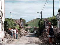 Faial Island in the Azores shortly after the 1998 earthquake
