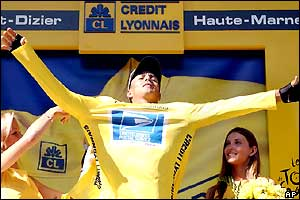 Victor Hugo Pena pulls on the yellow jersey