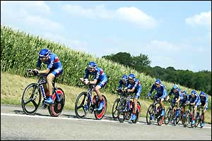The US Postal team ride through the French country side on stage four
