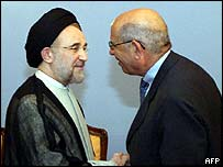 Iran's President Khatami (L) with Mohammed ElBaradei
