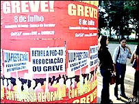 Posters promoting a planned strike in Brasilia, Brazil