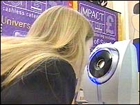 A pupil using the scanner