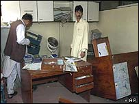 Damage to the passport section of the Pakistan embassy