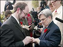 Antony Porcino (left) and Tom Graff get married in Vancouver. File photo