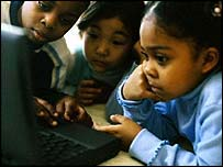 Children sharing a Lap Top Computer
