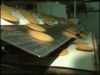 A biscuit factory production line