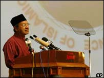 Malaysian PM Mahathir Mohamad addresses the conference