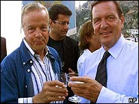German Chancellor Gerhard Schroeder, right, with Italian film director Franco Zeffirelli