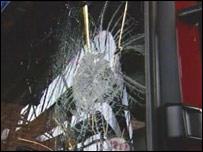 Smashed fire engine window