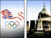 London 2012 logo and city of London