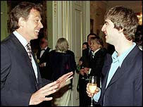 UK Prime Minister Tony Blair meets Oasis guitarist Noel Gallagher