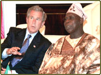 George W Bush  meets with Nigerian President Olusegun Obasanjo