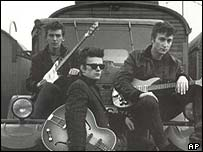 George Harrison, Stuart Sutcliffe and John Lennon