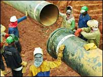 The pipeline being constructed