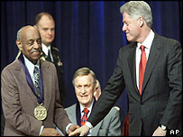 Benny Carter (l) with President Clinton and singer Eddy Arnold