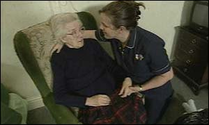 Maisie McCarthy with care worker