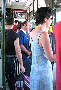 Crowded public transport