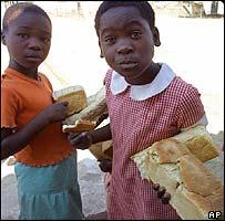 Children with bread