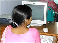Woman browsing the web in Bangladesh