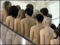 Nude performance art in Selfridges, BBC