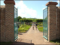 The gates at the restored double walled garden, Middleton