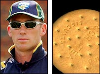Glenn McGrath and biscuit