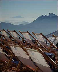 Deckchairs overlooking Mont Blanc.  Picture Ray Pritchard