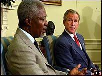UN Secretary General Kofi Annan [left] with US President George W Bush