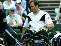 Greg Rusedski during an abusive tirade after a spectator called a ball out during his second round