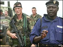 French soldiers and local policeman in Bunia