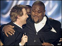 Ruben Studdard (right) and Clay Aiken in the American Idol final