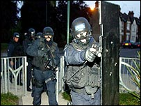 Police raid a home as part of Operation Nightlight
