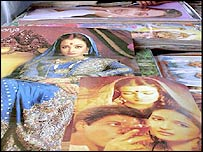 Devdas posters beckon customers at a street-side stall