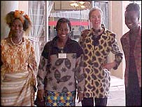 Supporters of African attire outside the Kenyan parliament