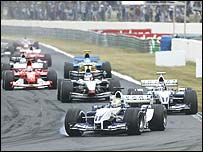 Ralf Schumacher leads the field at the start of the French Grand Prix