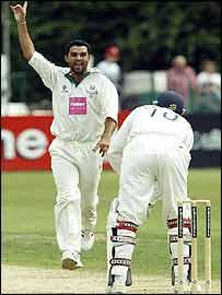 Kabir Ali takes a wicket