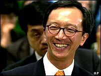 Antony Leung, pictured in the first day of his job as Hong Kong's financial minister, May 2001